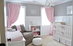 Gray and White Decoration Painting Modern Nursery Room with Cute Pink Window Curtain Decorating and Minimalist White Nursery Shelving Design also Simple Chandelier Lighting Ideas for Adorable Decoration Painting of the Baby Nursery Room Designs Pink And Gray Nursery, White Nursery, Nursery Room, Pink Grey, Pale Pink, Grey Bedroom With Pop Of Color, Gray Crib, Pastel Purple, Nursery Neutral