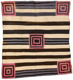 Transitional Navajo Chief's Blanket, softly woven in handspun wool, in natural and aniline colors, with a typical banded ground overlaid with striped panels and concentric squares · Sotheby's Motifs Textiles, Textile Patterns, Textile Prints, Chief Seattle, Navajo Rugs, Black And White Abstract, Black White, Floor Cloth, Pattern And Decoration