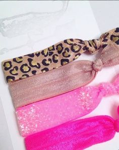 Pink Cheetah Hair Elastics  Hair Elastic Pack by LAlexandraDesigns