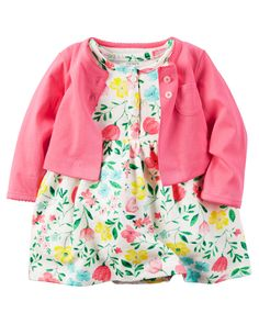 Baby Girl 2-Piece Bodysuit Dress & Cardigan Set from Carters.com. Shop clothing & accessories from a trusted name in kids, toddlers, and baby clothes.