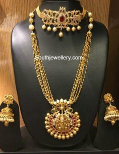 CZ Choker and Gold Haram - Indian Jewellery Designs Indian Jewellery Design, Latest Jewellery, Jewelry Design, Indian Wedding Jewelry, Bridal Jewelry, Gold Jewelry, Jewelery, Pearl Jewelry, Gold Necklace