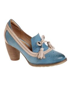 Look at this #zulilyfind! Blue & Taupe Rascal Leather Pump by Encore #zulilyfinds