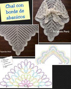 Chal con borde de abanicos   see two videos and directions in original post at http://www.tejiendoperu.com/crochet/chal-triangular-o-punta-con-abanicos/