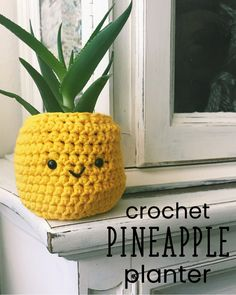 Crochet this fun and easy pineapple planter! It makes for a cute pot cover for your indoor house plants! #crochet #diy #freepattern #beginner #crochetplanter #crochetpineapple