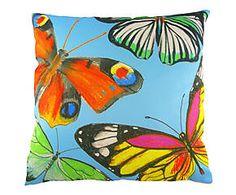 Federa copri cuscino arredo in misto cotone Farfalla azzurro - 43x43 cm