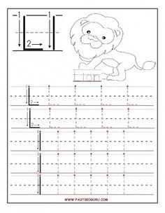 Printable letter L tracing worksheets for preschool.Free writing practice worksheets for 1st graders. Letter L for Lione