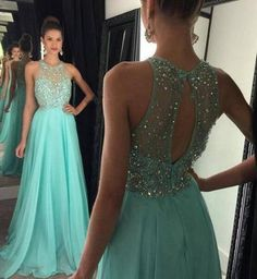 Halter Chiffon Prom Gowns Homecoming Dresses Beads Keyhole Back pst0097