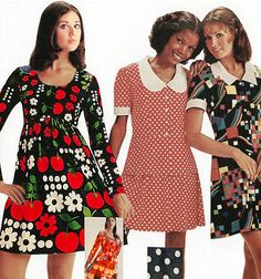 Colleen Corby 1960's fashion style mini dress floral polka dots baby doll color photo print ad 60s 70s model magazine