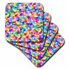 3dRose Rainbow confetti hearts pattern Colorful multicolor little love heart design Multicolored romantic, Soft Coasters, set of 4