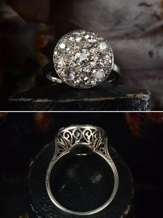 Early 1900s French Platinum Filigree Cluster Ring, ~1.50ctw European Cut Diamonds, (sold) The French did filigree rings before anyone else, but I can't think of ever seeing a cluster ring with...