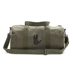 711f7d64e7c1 Live Long And Prosper Hand With Text Sport Heavyweight Canvas Duffel Bag in  Olive Mandalorian Skull