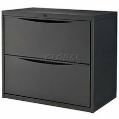 """30"""" Premium Lateral File Cabinet 2 Drawer Black by Global Industrial. $209.95. PREMIUM LATERAL FILE 2 Drawer Cabinet Premium lateral file cabinets keep paperwork organized. Made using durable steel with a chip and scratch resistant powder coat finish. Drawers feature ball bearing slides for full drawer extension that allows complete access to documents. Drawers include depth adjustable hang rails and front-to-back bars. Each drawer has a 90 lb. weight capacity. Depth adjus..."""