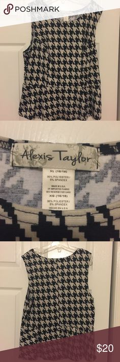 Alexis Taylor top (size XL) Pretty Alexis Taylor top. Houndstooth in cream and black. Size XL. Peplum bottom and sleeveless. Excellent condition! Alexis Taylor Tops Blouses