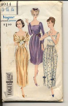 Here's a fun game to play- Why the hell is this pattern $145?    Vogue 4014 1959© Special Design Evening Dress and Fichu: All around box pleated skirt in two lengths joins the bodice at the waist-line. Square front and back neck-line finished with applied band, Bias fichu fastens at front. Long fitted sleeves and sleeveless.