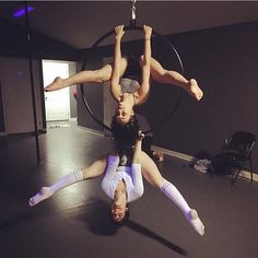 The @studio9poledance girls get in some double time on lyra! HASHTAG #AerialNation to submit your pics. #Lyra #AerialLyra #Hoop #AerialHoop #Circus #Cirque #CircusEveryDay #DoubleTime #UpsideDown
