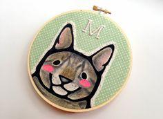 Custom Pet Portrait - Custom Cat Portrait -  Hoop Art - Embroidery Hoop Art - Personalized Cat Portrait