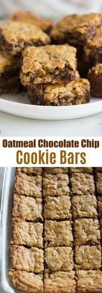 Oatmeal Chocolate Chip Cookie Bars are thick and chewy and a great treat for a crowd, potlucks and parties. They have the flavor you love from a great chocolate chip cookie, baked into easy and delicious bars! #cookie #bar #easy #chocolate #oatmeal #best #dessert