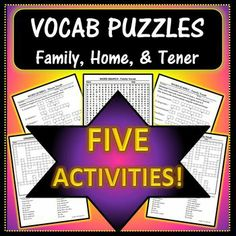 This is a ten-page Excel document, which includes two crossword puzzles, two word jumbles, and one word search, PLUS the answer keys for each puzzle. These vocab puzzles are perfect for practicing family and house related vocabulary. Visit my TPT store for more details on this product!