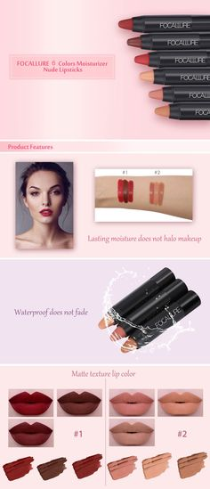 FOCALLURE 3 Colors Waterproof Long-lasting Moisturizer Nude Lipsticks