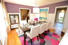 """Fun dining room with """"homemade"""" rug"""