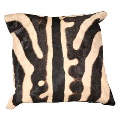 ZEBRA SKIN PILLOW WITH BLACK LEATHER BACK