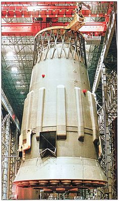 N1-L3 Moon Rocket Assembly - 1st stage. The N-1 Block A is 30.1 meter high and 16.8 meter in diameter at the base.