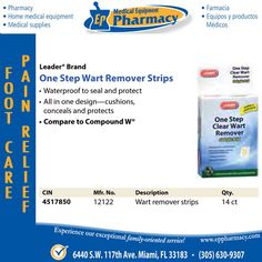 Leader Brand One Step Wart Remover Strips - Available @eppharmacy