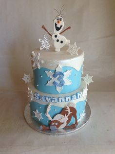 Frozen birthday cake. Fondant Olaf and Sven in a sparkly snowflake covered cake.