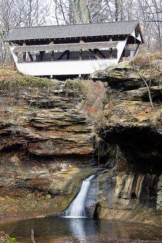 Rock Mill Covered Bridge In Lancaster, Ohio