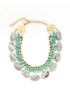 David Aubrey Gold, Jasper, & Dyed Jade Multi Row Necklace