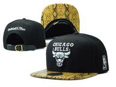 NBA Mitchell And Ness Hats Chicago Bulls Snapback Snakeskin Hats Black 8261