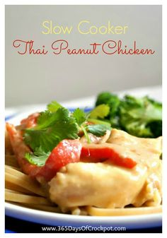 Slow Cooker Thai Peanut Chicken ...a delicious recipe for any day of the week.  Not to mention it's super simple to make!
