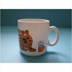 Purbeck Ceramics Vintage Cartoon Cat Just in Time for Tea Mug