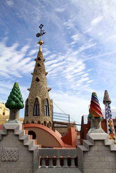 Roof chimneys of Palace Güell designed by Antoni Gaudí. Barcelona (Catalunya- Catalonia)