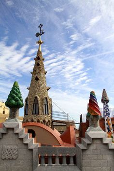 Roof chimneys of Palace Guell designed by Antoni Gaudi.   #ridecolorfully