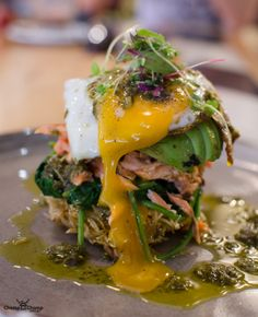 Typika Breakfast Stack: Shredded potato crisp, wilted spinach, avocado, house smoked ocean trout, fried egg | Typika Artisan Roasters Claremont | Gluten Free | Egg porn