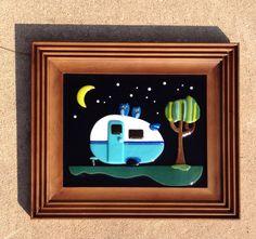 Fused glass owls glamping vintage teardrop travel trailer Shasta camper under the stars. By flutterbybutterfly.etsy.com Shasta Camper, Airstream, Glamping, Fused Glass, Owls, Glass Art, Mosaic, My Arts, Plates
