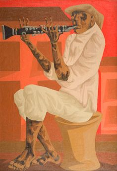 CLÓVIS GRACIANO - (1907 - 1988)    Título: Clarinetista  Técnica: óleo sobre tela  Medidas: 56 x 38 cm  Assinatura: canto inferior direito  Data/Local: 1970