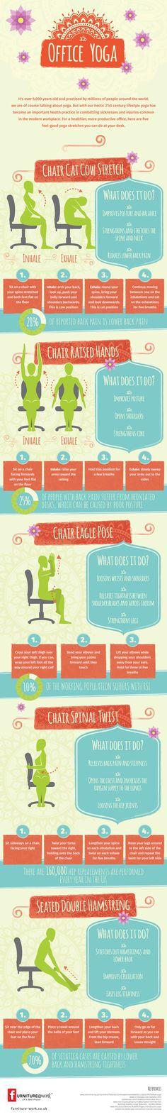 Das funktioniert überall - im Büro und Zuhause -- Office Yoga Infographic | Furniture@Work Blog