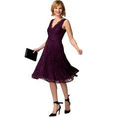 Purple floral lace sleeveless v neck dress