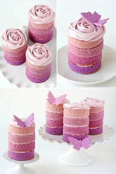 Ombre cupcakes / mini cakes with a butterfly theme. .... Definitely not into the butterfly's but love the colors and the idea