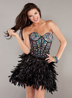 another black favorite!!!  #Jovani #corset #sexy top with #feathers!