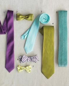 Bridal Party - Groomsmen. Matching neckware with bridesmaids colors. Let them pick their own style.