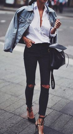 casual street style' black ripped denim, white shirt and jean jacket