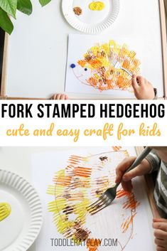Who's in for a cute hedgehog craft? This Fork Stamped Hedgehog Craft is precious, super easy to prep and loads of fun. After all, kids are using a FORK to make the hedgehog all needle-ish! Autumn Activities For Kids, Winter Crafts For Kids, Fall Crafts, Toddler Activities, Toddler Learning, Learning Activities, Hedgehog Craft, Cute Hedgehog, Toddler Crafts