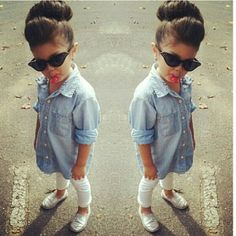 #kids  #fashion #inspiration #child  #swag #cute  #adorable #baby #girl #style #denim #shirt littleserah