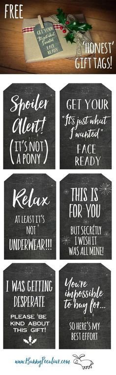 Honest Christmas Chalkboard gift tags are a funny addition to your gift giving.  Free and humorous printable tags with very honest sentiments!