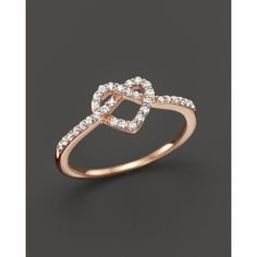 Diamond Heart Knot Ring in 14K Rose Gold, .25 ct. t.w. ($600) ❤ liked on Polyvore featuring jewelry, rings, pink, womens jewellery, engagement rings, pink heart ring, 14k rose gold ring en rose gold ring