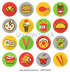Modern flat thin line design vector illustration, icons set of unhealthy fast food and snacks, for graphic and web design