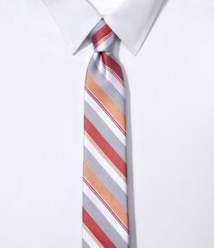 Express Narrow Silk Tie – Stripe (Orange)